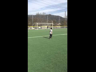 9 year old Damien taking free kicks outside of the box size 5 ball