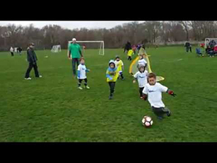 5 year old soccer star gets multiple shots on goal and scores in U6