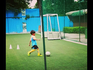 Football practice by Little Prithvi