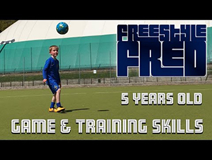 Freestyle Fred aged 5 showing his football skills