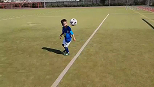 7 year old having fun with a ball