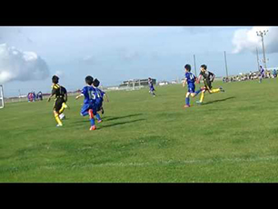 10 year old scores great chip goal!